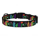 Ошейник Tribal для собак нейлоновый c пластиковой пряжкой Цветы Черный 25мм (35-45см), фото 2