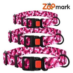 Ошейник URBAN для собак нейлоновый с пластиковой пряжкой Косточка Розовый 25мм (35-45см)