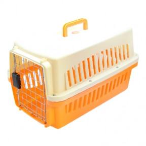 Переноска IATA для собак с металлической дверью 483131 см вес до 5кг Оранжево-белая