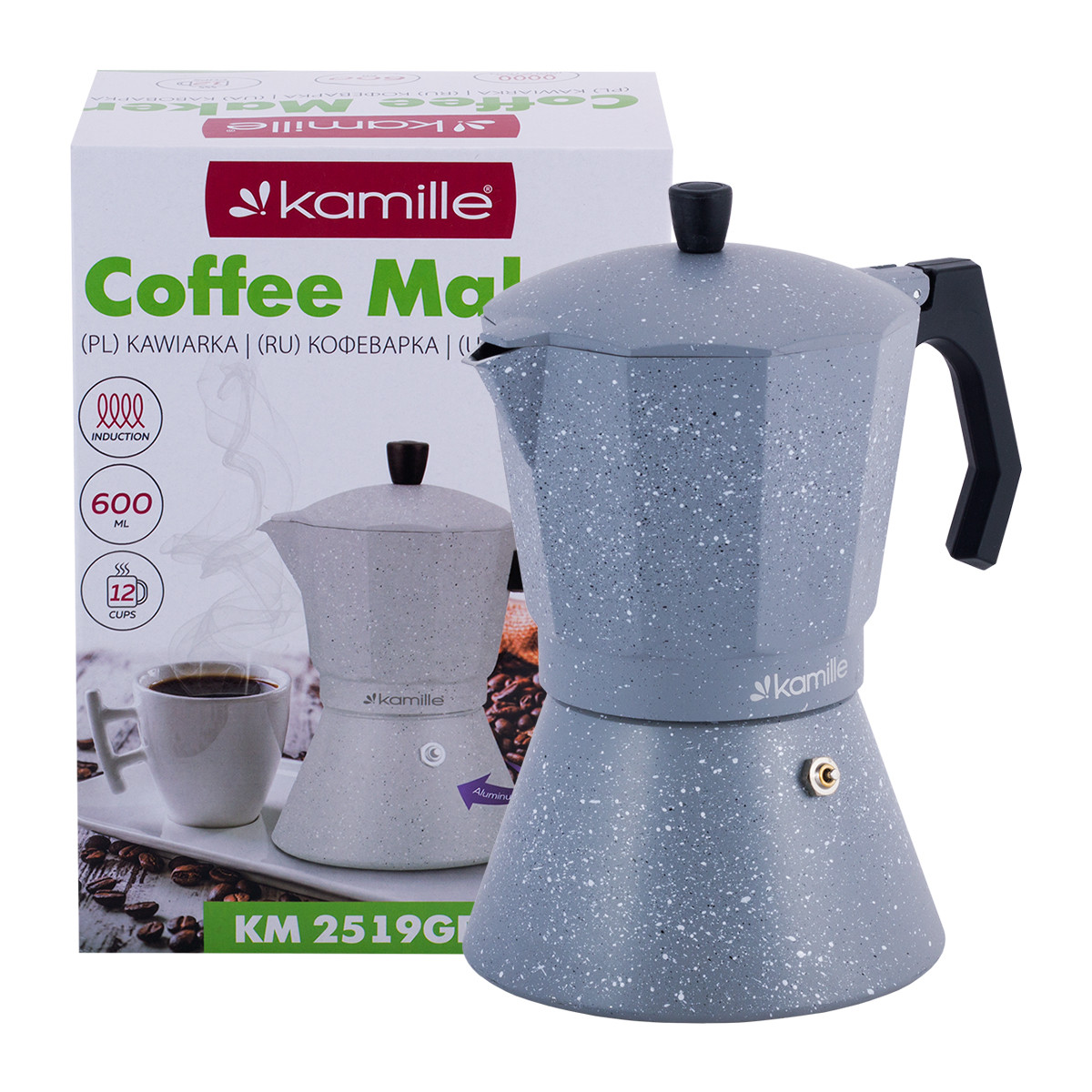 Кофеварка гейзерная Kamille Серый Мрамор 600мл из алюминия с широким индукционным дном KM-2519GR