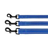 Поводок ACTIVE для собак со светоотражением нейлоновый Синий 10мм152см, фото 3