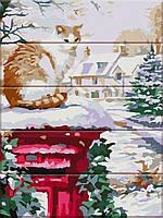 """Картина за номерами на дереві """"Зима прийшла"""" 30*40 см"""