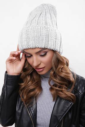 Женская шапка с подворотом светло серая, фото 2