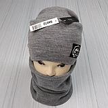 М 94072 Комплект для мальчика  шапка двойная на флисе и баф, разние цвет (5-15 лет), фото 3
