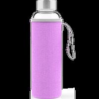 Скляна спортивна пляшка з чохлом, Фіолетова