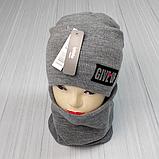 М 94073 Комплект  шапка двойная на флисе и баф для мальчиков, разние цвет (5-15 лет), фото 7