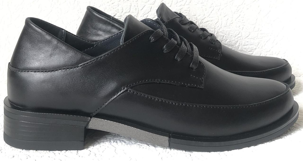 Moschino! Туфли женские кожаные черные на шнурках низкий ход! Очень удобные
