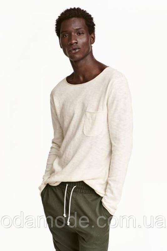 Джемпер мужской белый из тонкого трикотажа h&m