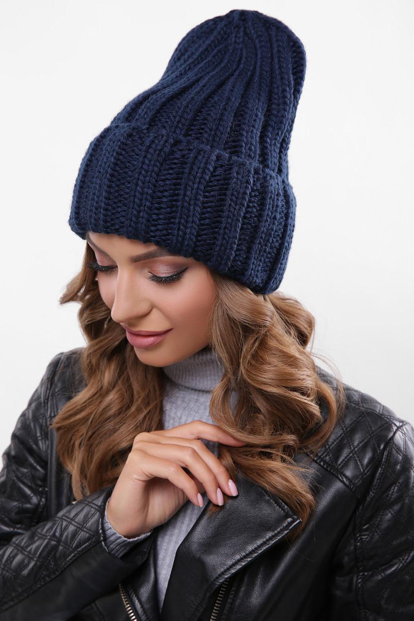 Женская шапка с подворотом темно-синия