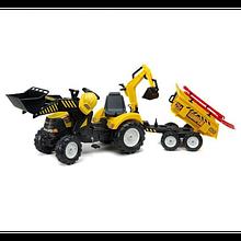 Дитячий трактор Falk на педалях з причепом переднім і заднім ковшем жовтий 1000WH Power Loader