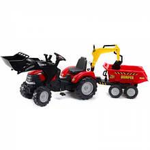 Falk Детский трактор-экскаватор на педалях с прицепом передним и задним ковшом 995W Case Ih Puma