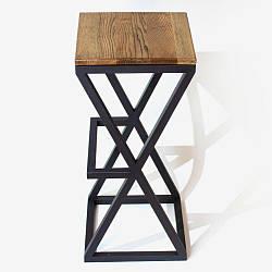 Барный стул в стиле LOFT из металла и натурального дерева