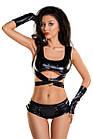 Комплект Glossy из материала wetlook (топ, мини-шорты и перчатки), черный, фото 6