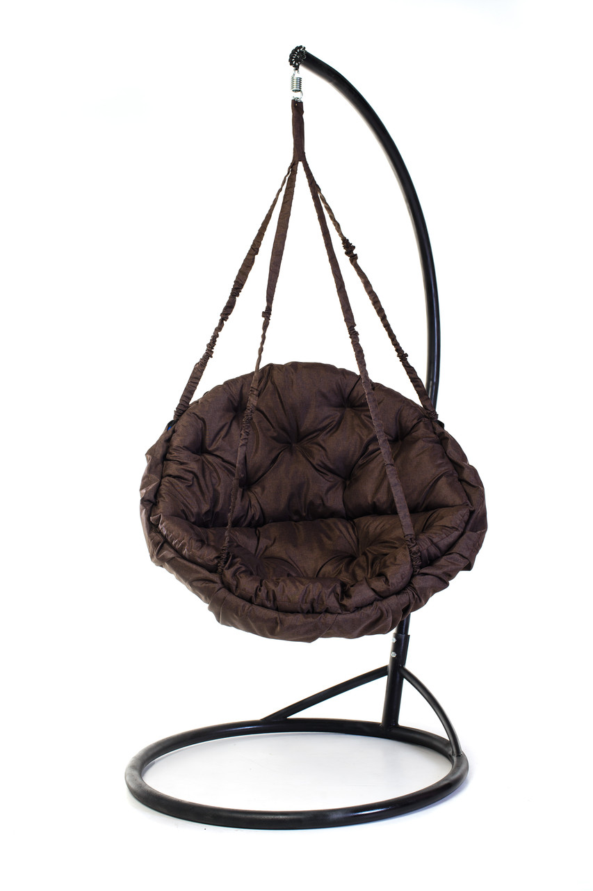 Подвесное кресло гамак для дома и сада с большой круглой подушкой 120 х 120 см до 250 кг коричневого цвета