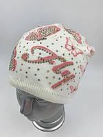 ОПТ Вязаная шапка для девочки с флисом «Бабочки», фото 1