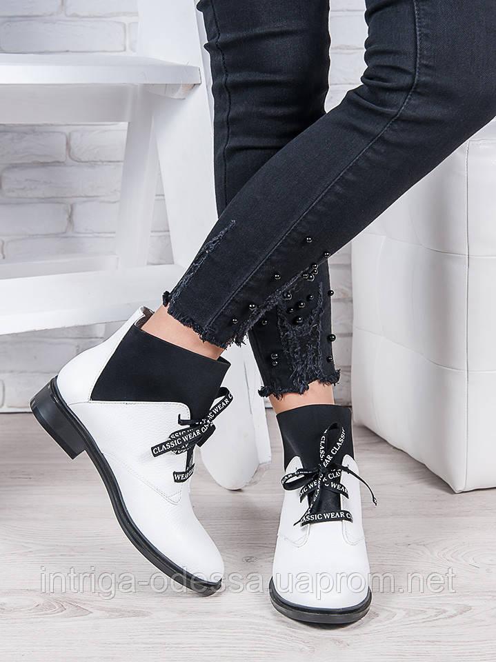 Ботинки кожаные Элиза белые 6949-28