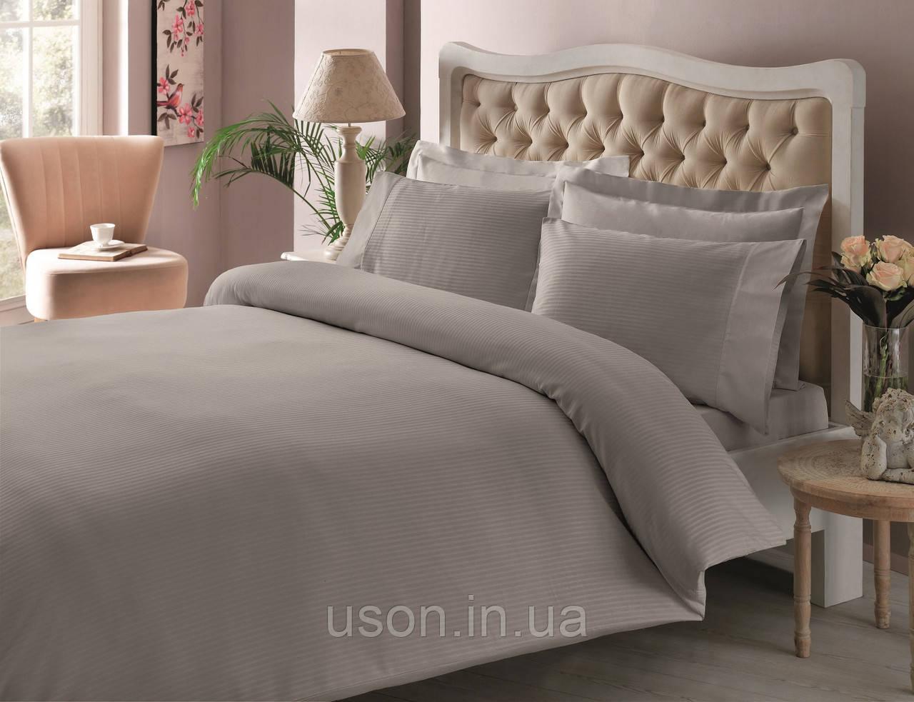 Комплект постельного белья Tac Premium Basic сатин страйп евро размер 200*220 antrasit