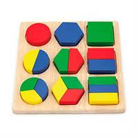 Набор геометрических фигур, деревянный пазл Viga Toys Части фигур, развивающие игрушки для детей от 1 года