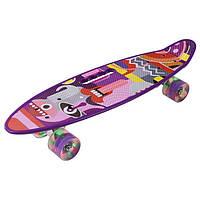 Скейт PennyBoard, з ручкою, що світяться колеса Синій
