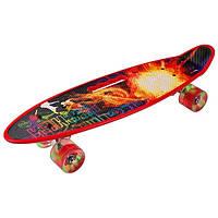 Скейт PennyBoard, з ручкою, що світяться колеса Червоний