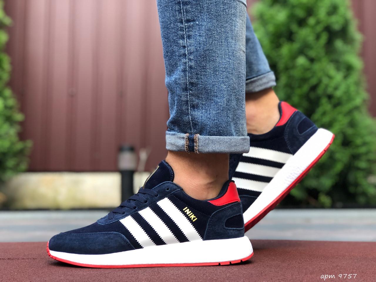 Мужские кроссовки Adidas Iniki,замшевые,темно синие с белым