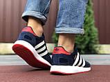 Мужские кроссовки Adidas Iniki,замшевые,темно синие с белым, фото 2