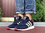 Мужские кроссовки Adidas Iniki,замшевые,темно синие с белым, фото 3