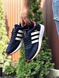Мужские кроссовки Adidas Iniki,замшевые,темно синие с белым, фото 4