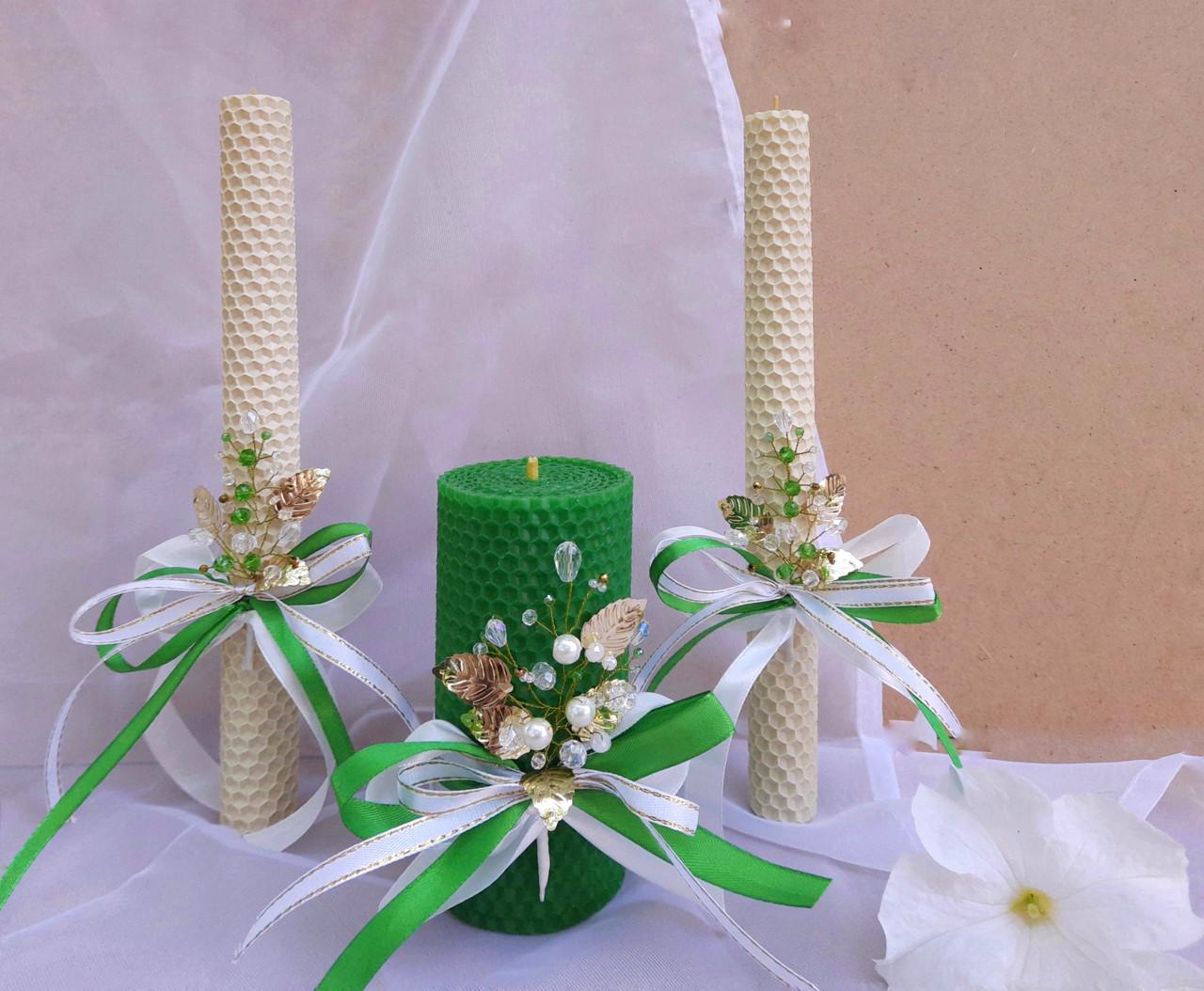 """Набор свадебных свечей """"Семейный очаг"""" Зеленый Zigrivay 3 шт (10004)"""