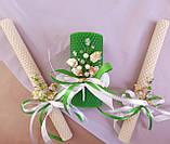 """Набор свадебных свечей """"Семейный очаг"""" Зеленый Zigrivay 3 шт (10004), фото 2"""