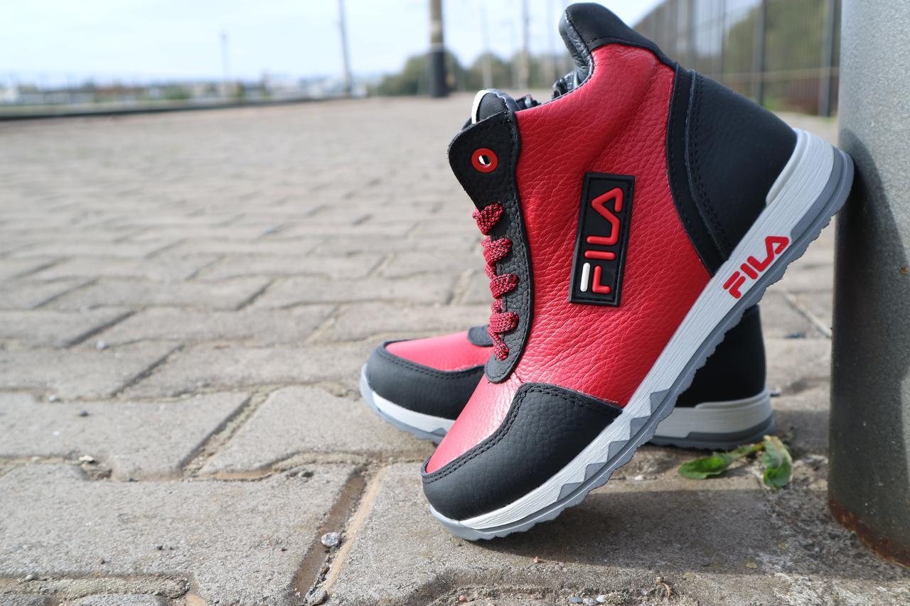 Детские ботинки кожаные зимние красные-черные CrosSav z 48
