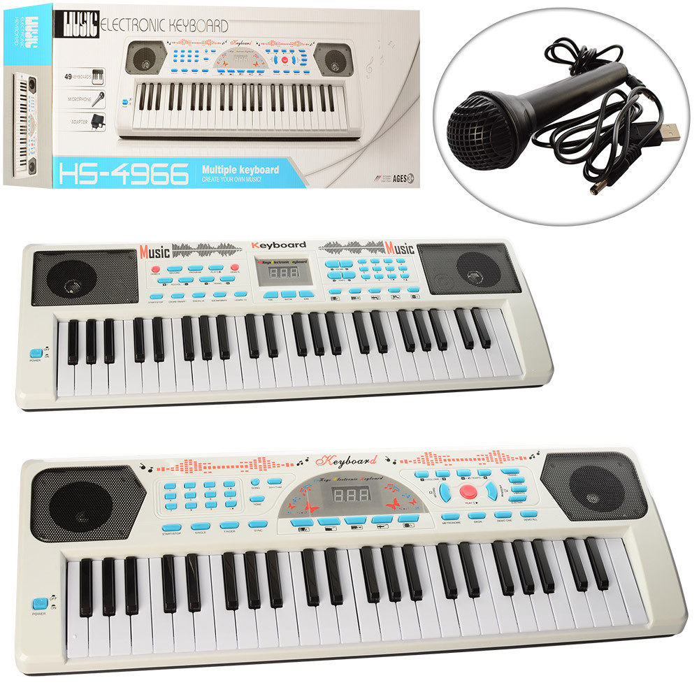 Детский синтезатор HS4966-68B с микрофоном, USB и MP3, 49 клавиш