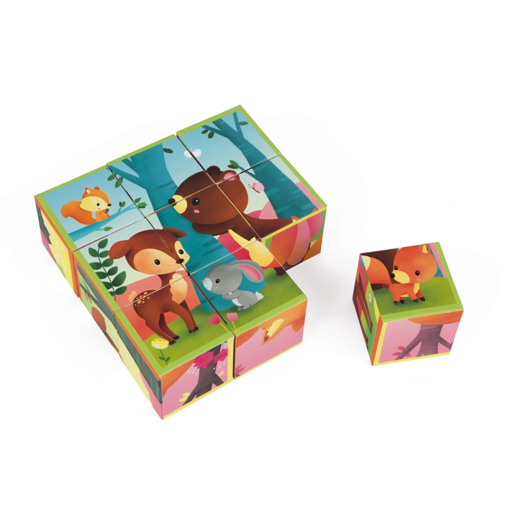 Кубики Janod Лісові тваринки 9 шт. (J02731)