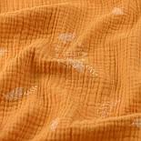 Жатый двухслойный муслин с листиками на горчичном фоне, ширина 135 см, фото 2