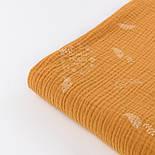 Жатый двухслойный муслин с листиками на горчичном фоне, ширина 135 см, фото 4