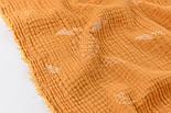 Жатый двухслойный муслин с листиками на горчичном фоне, ширина 135 см, фото 5
