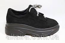 Молодежные женские туфли замшевые на высокой подошве черного цвета. Размеры 36-41.