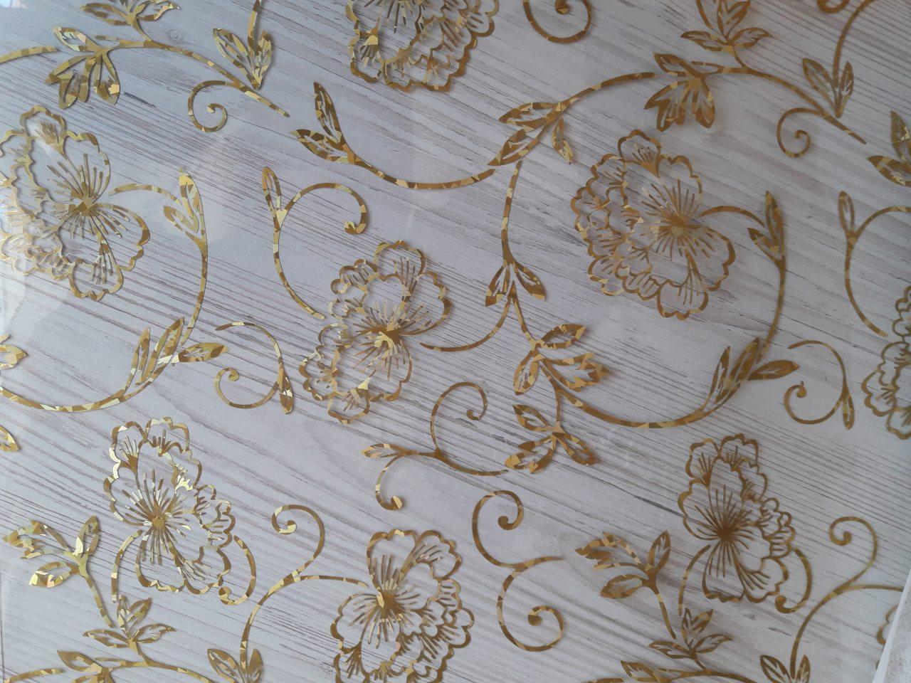 М'яке скло Силіконова скатертину на стіл Soft Glass 2.5х0.8м (Товщина 1.5 мм) Золотисті квіти
