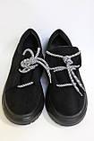 Молодіжні жіночі замшеві туфлі на високій підошві чорного кольору. Розміри 36-41., фото 5