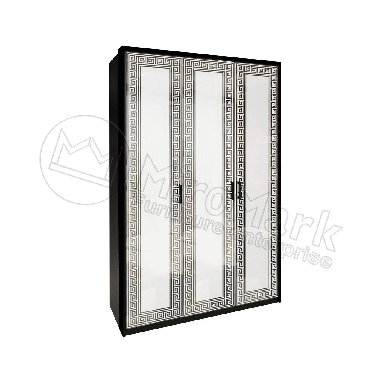Шкаф 3дв Виола глянец белый-черный мат без зеркал ТМ Миро Марк