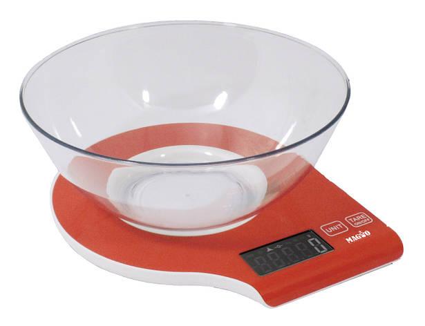 Ваги кухонні електронні Magio MG-294 5 кг З чашею Червоний, фото 2