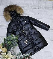 Детское зимнее пальто для девочки с натуральным мехом размеры 128-152