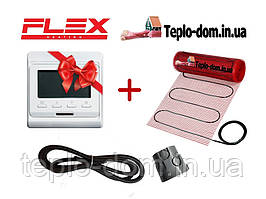 Тонкий електрический мат для обогрева FLEX EHM - 175 /  12м  / 6 м2  / 1050 Вт с програматором In-Therm E-51