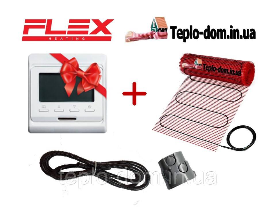 Тонкий мат для обогрева пола в доме  FLEX EHM - 175 /  30м  / 15 м2  / 2625 Вт с програматором In-Therm E-51