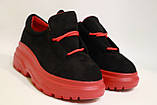 Молодежные женские туфли замшевые на высокой подошве черного цвета. Размеры 36-41, фото 3