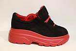 Молодежные женские туфли замшевые на высокой подошве черного цвета. Размеры 36-41, фото 5