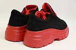 Молодежные женские туфли замшевые на высокой подошве черного цвета. Размеры 36-41, фото 2