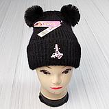 """М 94075 Шапка зимняя с  отворотом """"Lady Bug"""" для девочки, разные цвета (3-12 лет), фото 2"""