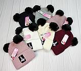 """М 94075 Шапка зимняя с  отворотом """"Lady Bug"""" для девочки, разные цвета (3-12 лет), фото 5"""