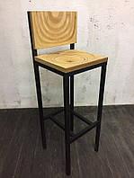 Барный высокий стул из натурального дерева в стиле LOFT